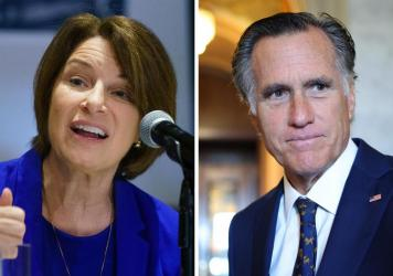 Democrat Amy Klobuchar of Minnesota and Republican Mitt Romney of Utah are urging the Biden administration to step up work protecting Afghan journalists.