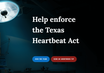 """A screen capture of the website established by Texas Right to Life encouraging members of the public to submit """"anonymous tips"""" about violators of the state's new restrictive abortion law."""