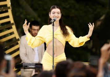 Lorde performs at <em>Good Morning America</em>'s Summer Concert Series in Central Park on Aug. 20 in New York City. She worked with a team of language experts to re-record five of her new songs in the indigenous Māori language.