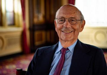 Justice Stephen Breyer welcomes the resumption of in-person oral arguments at the high court this fall.