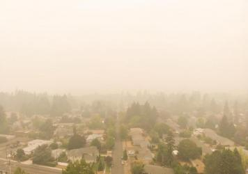 A residential neighborhood in Portland, Ore., thick with wildfire smoke.