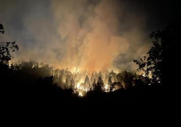 Dixie Fire night operations near Taylorsville, California on August 25, 2021