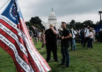 Supporters of those suspected of taking part in the Jan. 6 attack on the U.S. Capitol attend the Justice for J6 rally near the U.S. Capitol on Saturday.