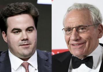 Robert Costa is pictured in a panel discussion in 2017 (left), and Bob Woodward at the 2019 PEN America Literary Gala in New York. The two have authored a book about the transition between the Trump and Biden administrations.
