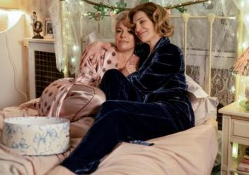 Rebecca (Hannah Waddingham) and her mother Deborah (Harriet Walter) do their best to comfort each other in a difficult moment.