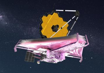 An artist's conception of the James Webb Space Telescope after it has unfolded in space.