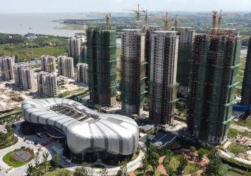 The halted under-construction Evergrande Cultural Tourism City, a mixed-used residential, retail and entertainment development in Taicang in China's eastern Jiangsu province.