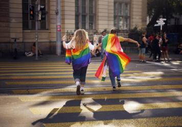 In this Saturday, Sept. 4, 2021 file photo, people take part in the Zurich Pride parade in Switzerland. Swiss voters will wrap up a referendum on Sept. 26, 2021, to decide whether to allow same-sex marriage.