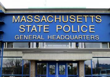 """The Massachusetts State Police headquarters in Framingham, Mass. The State Police Association of Massachusetts said troopers should have """"reasonable alternatives"""" to being required to get vaccinated for COVID-19 such as wearing masks and being tested reg"""
