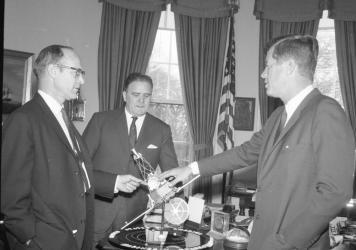 NASA's new telescope bears the name of James Webb (center), an influential figure who was appointed by President John F. Kennedy to lead the space agency during the '60s. But some astronomers say discrimination against gay and lesbian government employee