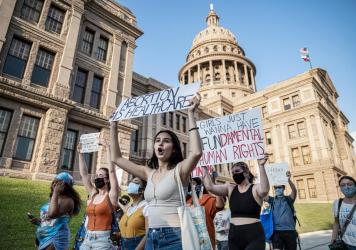 Abortion-rights supporters march outside the Texas Capitol in Austin on Sept. 1.