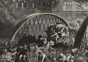 An engraving from the Illustrated London News in 1871 of the Randolph Street Bridge during the Great Chicago Fire.