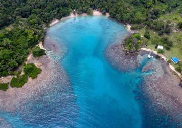 Aerial view of a coral reef area at Playa Blanca, in Portobelo, Colon province, Panama, on April 16, 2021. A massive new report shows that the world's coral reefs are under stress, but could recover if greenhouse gas emissions are significantly reduced.