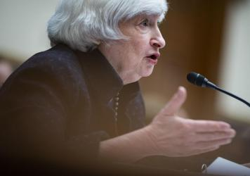 More than 130 countries on Friday agreed to set a global minimum corporate tax rate, a proposal spearheaded by U.S. Treasury Secretary Janet Yellen, seen here at a House Oversight Committee hearing on Sept. 30.