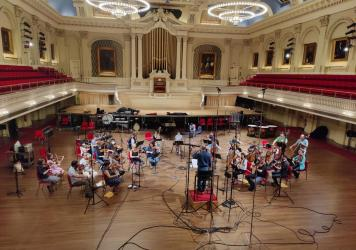 Gil Rose and Boston Modern Orchestra Project recording in Mechanics Hall, Worcester, Mass.