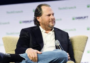 Salesforce CEO Marc Benioff speaks onstage during the TechCrunch Disrupt San Francisco event in San Francisco on Oct. 3, 2019. Benioff is a proponent of stakeholder capitalism, the belief that companies must look out for the broader good.