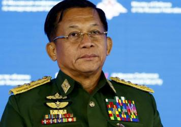 Senior Gen. Min Aung Hlaing, commander in chief of Myanmar's armed forces and head of Myanmar's coup regime, attends the 9th Moscow Conference on International Security in Moscow in June.