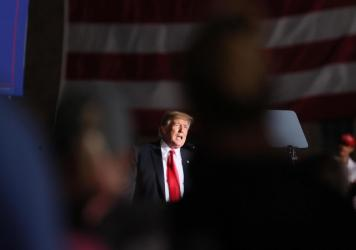 Former President Donald Trump speaks to supporters during a rally at the Iowa State Fairgrounds in Des Moines on Oct. 9.
