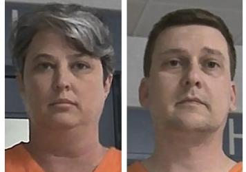 Jonathan Toebbe and his wife, Diana Toebbe, are seen in booking photos. Federal prosecutors accuse the Maryland couple in a plot to sell sensitive U.S. submarine secrets to a foreign government.