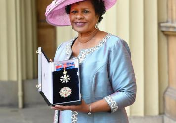 Dame Sandra Mason is seen here after she was made a Dame Grand Cross of the Order of St. Michael and St. George during a ceremony at Buckingham Palace in 2018 in London. Before her election as the first president of Barbados, she served as the governor g