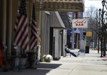"""Greensburg, Ind., pictured in April 2020, is offering incentives to move there including """"grandparents on demand."""""""