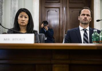 Jennifer Stout , left, vice president of global public policy at Snapchat parent Snap Inc., and Michael Beckerman, vice president and head of public policy at TikTok, testify before a Senate panel on Tuesday.