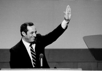 New York Gov. Mario Cuomo gestures while delivering the keynote address to the Democratic National Convention Monday, July 22, 1984 in San Francisco's Moscon Center.