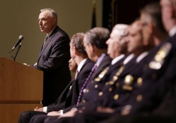 New York City Police Commissioner Bill Bratton speaks during an NYPD swearing-in ceremony in New York on Jan. 7. He confirmed to NPR today that there had been a work slowdown by officers  in the weeks since two police officers were shot dead. He said the