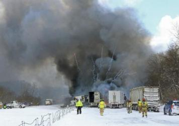 A multi-vehicle crash reportedly killed one person and set off explosions in a truck carrying fireworks on I-94 west of Battle Creek, Mich., Friday.