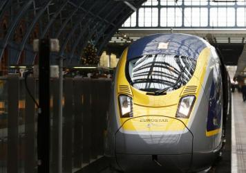 Eurostar's Siemens e320 train is seen at St. Pancras station in central London, in November. The passenger train plies the Channel Tunnel connecting London and Paris.