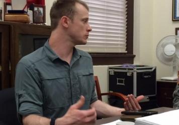 This photo provided by Eugene R. Fidell shows Sgt. Bowe Bergdahl preparing to be interviewed by Army investigators in August.