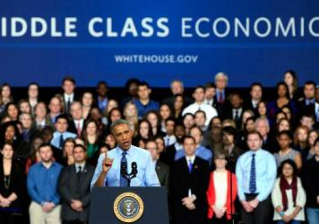 "President Obama, shown speaking at the University Of Kansas on Jan. 22, defends his budget as an exercise in ""middle-class economics."" But forecasters at the nonpartisan Tax Policy Center say the 60 percent of Americans at the middle of the income ladder"