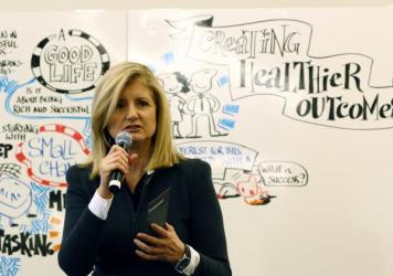 "Arianna Huffington, president and editor-in-chief of The Huffington Post Media Group, speaks at the 2014 World Economic Forum. Reporters and editors in 15 countries will contribute to ""What Works,"" her site's new initiative focused on covering positive n"