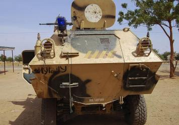 An armored vehicle used by Boko Haram militants captured by the Nigerian military in Maiduguri, Borno state, late last month. The extremist group appears to be expanding its operations into neighboring countries in an effort to establish an independent I
