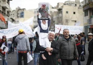 Jordanians marched in the streets of the capital Amman on Feb. 6 to show solidarity with the family of a pilot killed by the Islamic State in Syria. Jordanians also expressed support for the king's decision to take part in the U.S.-led coalition against ISIS.