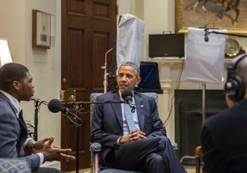 "President Barack Obama participates in a ""My Brother's Keeper"" StoryCorps interview with Noah McQueen in the Roosevelt Room of the White House on Feb. 20."