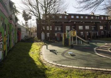 "A playground can be seen outside an address in London where Kuwaiti-born London computer programmer Mohammed Emwazi is believed to have lived. Emwazi has been identified as masked ISIS militant ""Jihadi John."""
