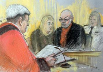 A court sketch of former glam rocker Gary Glitter, who was sentenced today to 16 years in prison for sexually abusing three schoolgirls.