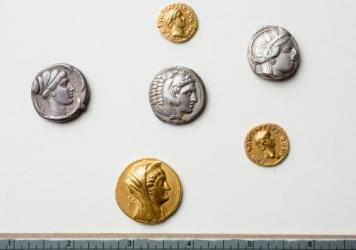 """Coins from the Thomas Lockwood Collection were recently found to be rare and priceless. From a description by the University at Buffalo, from top to bottom: A gold aureus of the Roman emperor Otho; a tetradrachm of Athens; a tetradrachm of Alexander the Great; a silver tetradrachm of Syracuse (Sicily); a gold aureus of the emperor Nero; and a gold octodrachm of Arsinoe II."""""""