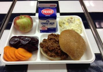 A lunch served by the Yarmouth, Maine, School Department on Sept. 26, 2014, featured Sloppy Joe's made with Maine beef and local beets, carrots, apples and potato salad. More than 80 percent of Maine schools said they served local foods in a survey condu