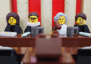 A model made of Legos of the four female Supreme Court justices. The designs were rejected as a product submission because of politics.