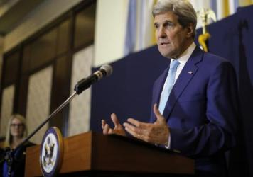 """U.S. Secretary of State John Kerry speaks at a news conference in Sharm el-Sheikh, Egypt, on Saturday. Kerry said he's returning to nuclear negotiations with Iran with """"important gaps"""" standing in the way of a deal."""