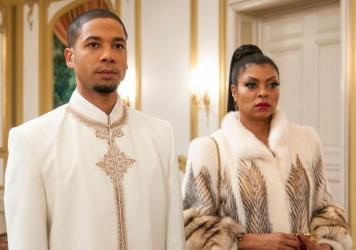 "Jamal (Jussie Smollett, L) and Cookie (Taraji P. Henson, R) attend the all white party in the ""The Lyon's Roar"" episode of EMPIRE."