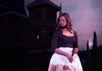 Soprano Pretty Yende in a Los Angeles Opera rehearsal. Starting Saturday, she'll be appearing in the company's production of <em>The Marriage of Figaro</em>.