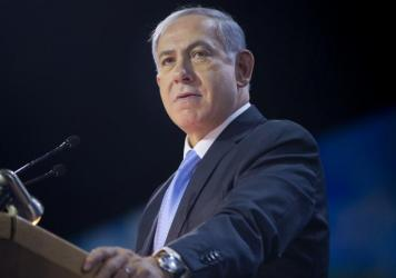 Israeli Prime Minister Benjamin Netanyahu speaks at the American Israel Public Affairs Committee Policy Conference in Washington earlier this month. In an interview with NPR's <em>Morning Edition</em>, Netanyahu said a separate Palestinian state is unach