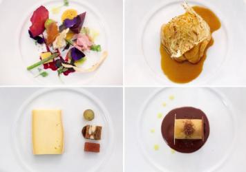 "A sampling of the multi-course menu served at the <em>Gout de France</em> dinner at the French embassy in Washington, D.C. (Top left, clockwise): seasonal vegetables with winter truffle Bayonne ham crisps; slowly cooked monkfish with fennel pollen flavors in ""Armoricaine"" sauce; Ariane apple and Guanaja chocolate <em>onctueux</em>; ""Saint-Nectaire"" cheese, grilled bread with nuts and raisins."