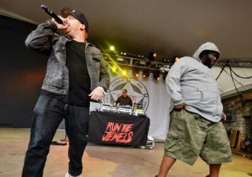 El-P (left) and Killer Mike of Run the Jewels play the <em>Spin</em> party at Stubb's.
