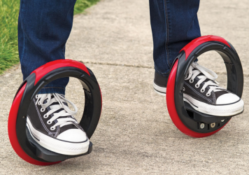 An optional rod connects each wheel to give the skater more stability.