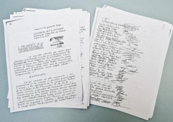 "Reproduction of a letter to the National Commission of Human Rights from criminals, drug dealers, murderers and kidnappers in ""El Altiplano,"" Mexico's highest-security prison."