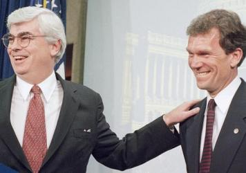 Sen. Christopher Dodd, D-Conn., left, with then-Senate Minority Leader Tom Daschle at a 1995 news conference on Capitol Hill. Harry Reid took over as leader in 2005 after Daschle unexpectedly lost his re-election. At the time, Reid was unknown to most Americans, but he beat back a challenge Dodd.